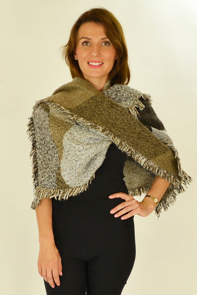 Brown Beige Diamond Scarf