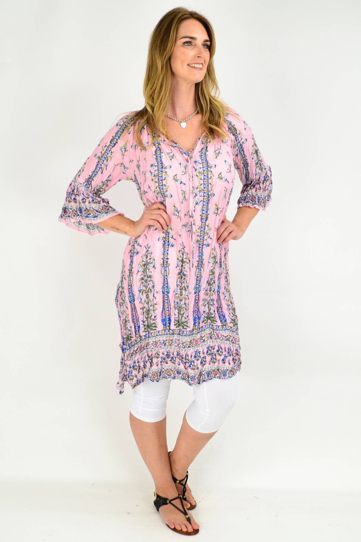 Light Pink Floral Crinkle Tie Tunic Dress