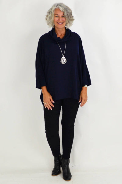 Navy Jessie Roll Neck Bamboo Wool Tunic