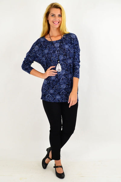 Blue floral Long Sleeve Tunic Top