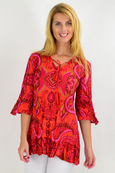 Hippy Hot Pink Paisley Tunic Top | I Love Tunics | Tunic Tops | Tunic | Tunic Dresses  | womens clothing online