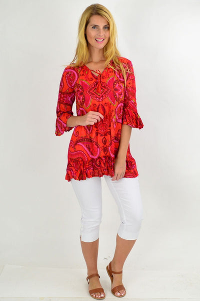 Hippy Hot Pink Paisley Tunic Top