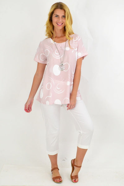 Pink White Spot Tunic Top