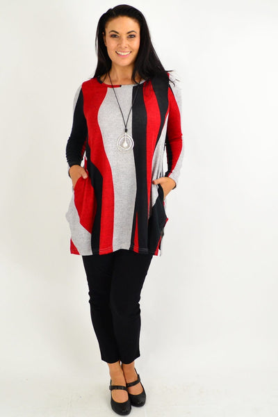 Red Swirl Winter Fleece Tunic Top