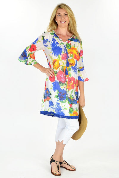 Floral Sunshine Tunic - at I Love Tunics @ www.ilovetunics.com = Number One! Tunics Destination