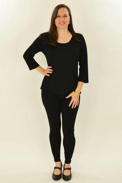 Black Cotton 3/4 Sleeve Basic