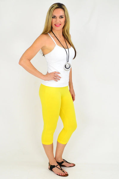 Yellow Cotton 3/4 Leggings