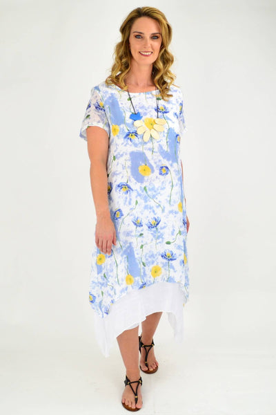 Soft Blue Floral Print Cotton Short Sleeve Tunic Dress