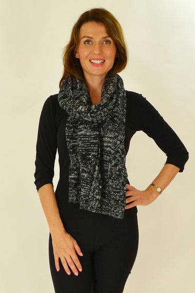 Black White Pocket Scarf - at I Love Tunics @ www.ilovetunics.com = Number One! Tunics Destination