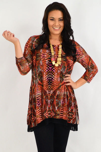 Pat Pattern Round Neck Tunic Top | I Love Tunics | Tunic Tops | Tunic | Tunic Dresses  | womens clothing online