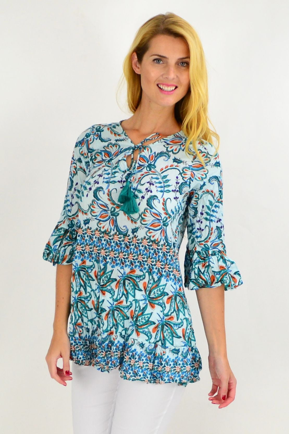 Blue Green Vine Print Tunic Top | I Love Tunics | Tunic Tops | Tunic | Tunic Dresses  | womens clothing online