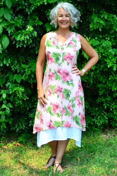 Summer Garden Pink Tunic Dress | I Love Tunics | Tunic Tops | Tunic | Tunic Dresses  | womens clothing online