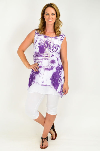 Purple Cotton Linen Abstract Garden Tunic Blouse