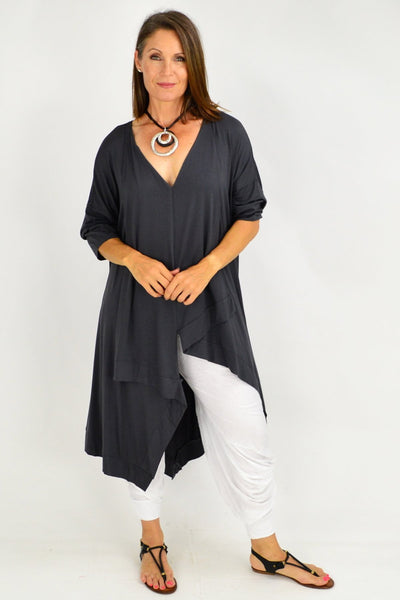 Charcoal Julianne Relaxed Stretch Jersey Tunic