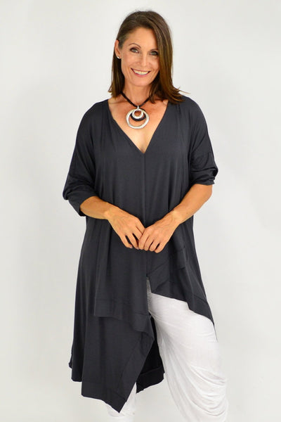 Charcoal Julianne Relaxed Stretch Jersey Tunic | I Love Tunics | Tunic Tops | Tunic Dresses | Women's Tops | Plus Size Australia | Mature Fashion