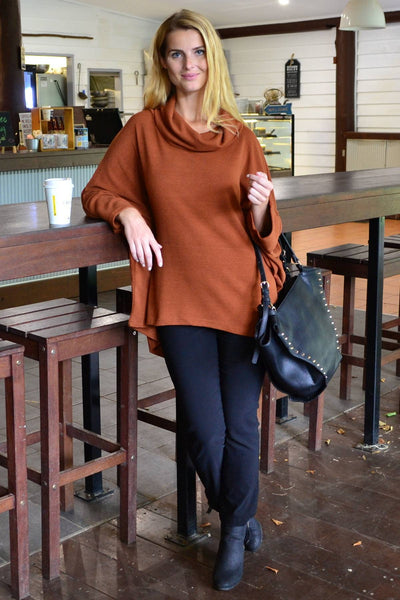 Caramel Jessie Roll Neck Bamboo Wool Tunic | I Love Tunics | Tunic Tops | Tunic Dresses | Women's Tops | Plus Size Australia | Mature Fashion