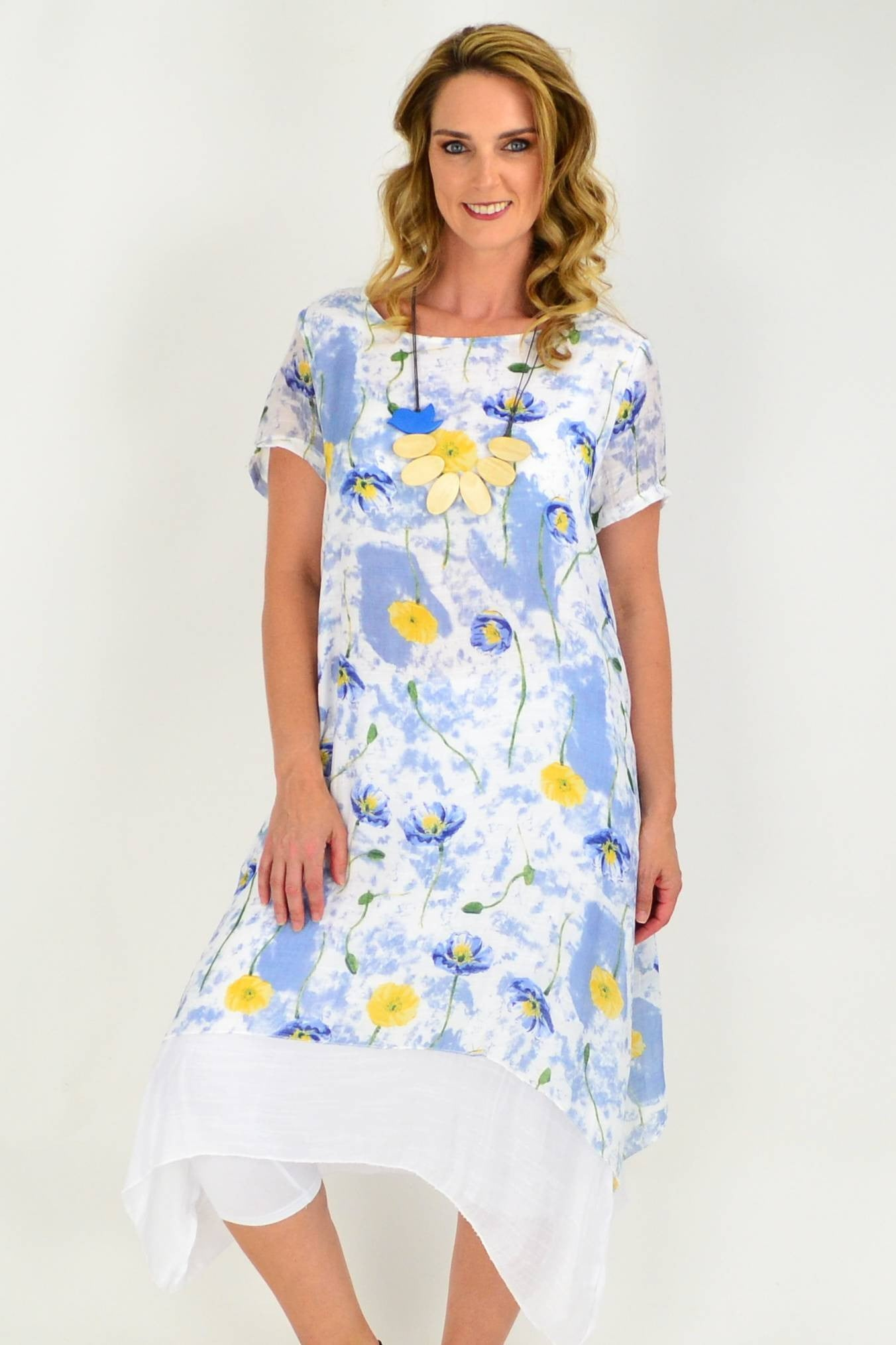 Soft Blue Floral Print Cotton Short Sleeve Tunic Dress | I Love Tunics | Tunic Tops | Tunic | Tunic Dresses  | womens clothing online
