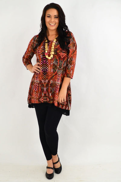 Pat Pattern Round Neck Tunic Top