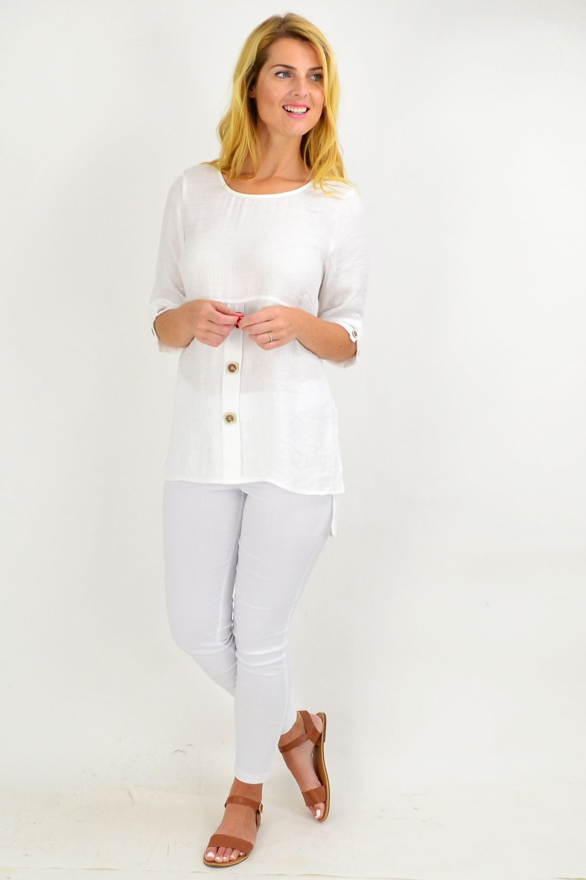 Creamy White Square Button Tunic Top | I Love Tunics | Tunic Tops | Tunic | Tunic Dresses  | womens clothing online