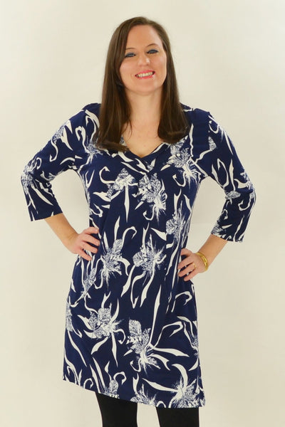 Navy Nora Tunic - at I Love Tunics @ www.ilovetunics.com = Number One! Tunics Destination