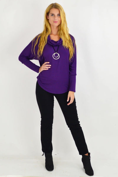Purple Nicola Rolled Neck Tunic Top