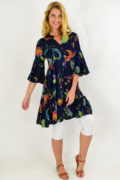 Navy Betty Bell Sleeve Tunic Dress