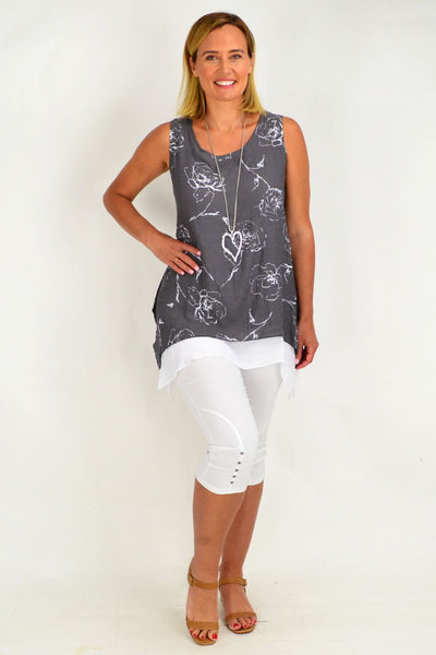 Grey White Rose Overlay Tunic Top