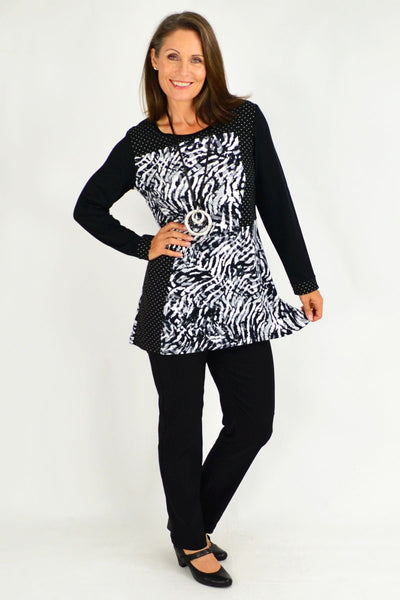 Penelope  Black White Tunic Top
