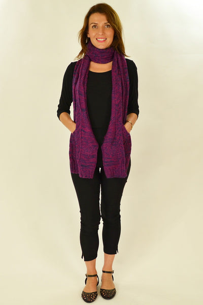 Purple Blue Pocket Scarf