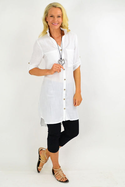 White Square Button Tunic Shirt | I Love Tunics | Tunic Tops | Tunic | Tunic Dresses  | womens clothing online