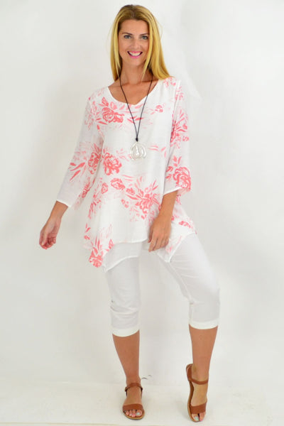 Salmon Pink Overlay Floral Tunic Blouse