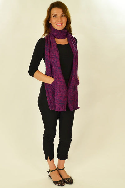 Purple Blue Pocket Scarf - at I Love Tunics @ www.ilovetunics.com = Number One! Tunics Destination