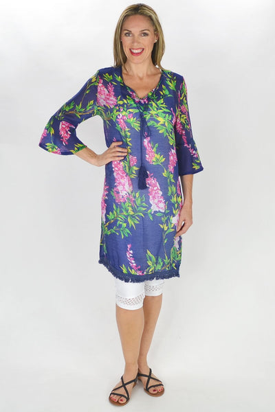 Navy Summer Flowers Tunic
