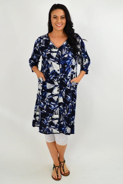 Dark Blue Abstract Button Up Tunic Dress