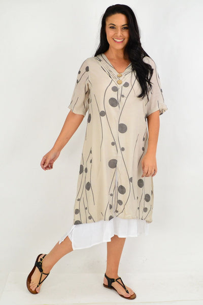 Taupe Charcoal Dot Overlay Tunic Dress