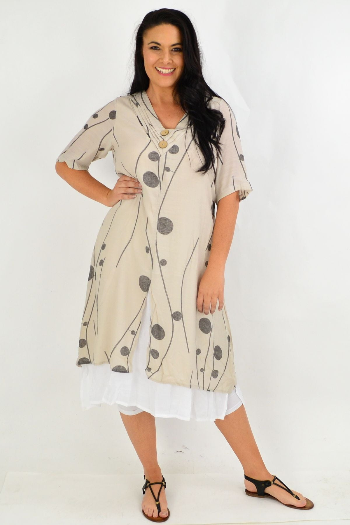 Taupe Charcoal Dot Overlay Tunic Dress | I Love Tunics | Tunic Tops | Tunic | Tunic Dresses  | womens clothing online