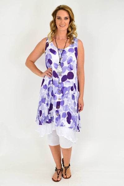 Purple Spot Double Layer Cotton Tunic Dress