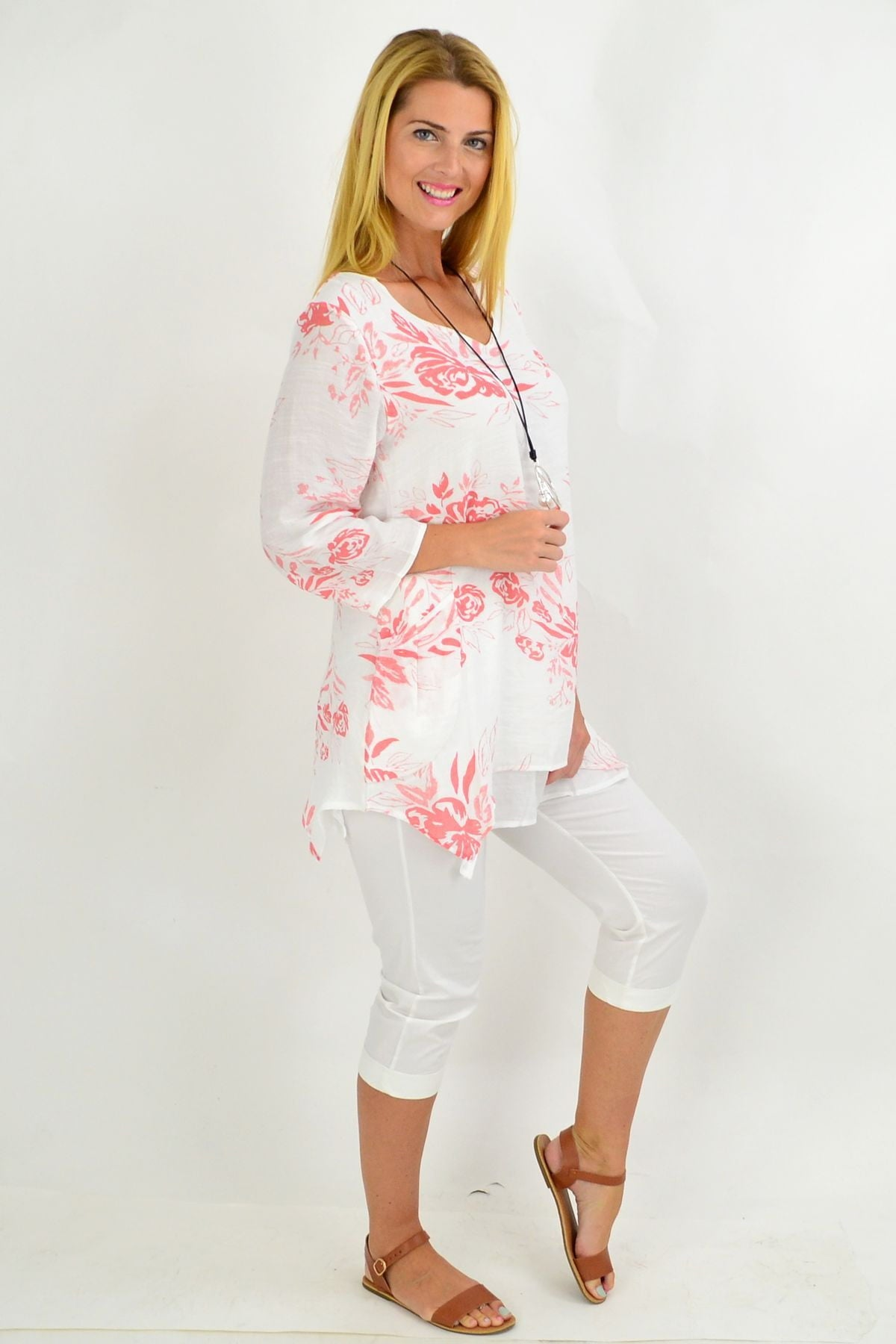Salmon Pink Overlay Floral Tunic Blouse | I Love Tunics | Tunic Tops | Tunic | Tunic Dresses  | womens clothing online