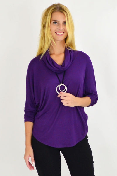 Purple Nicola Rolled Neck Tunic Top | I Love Tunics | Tunic Tops | Tunic Dresses | Women's Tops | Plus Size Australia | Mature Fashion