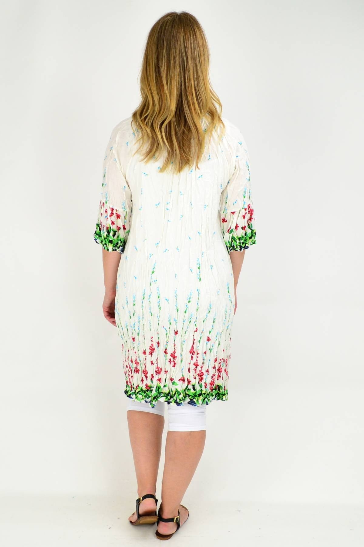 White Flower Crinkle Tie Tunic Dress