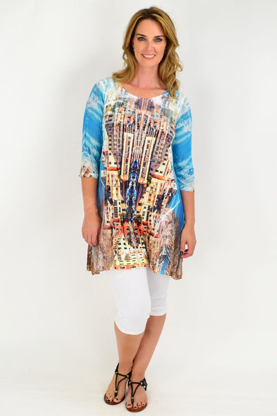 Blue Apartment Building Lace Trim Tunic Top