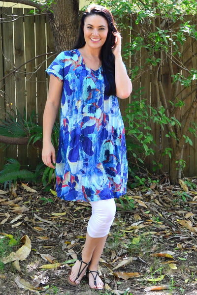 Ocean Flower Cap Sleeve Tunic Top | I Love Tunics | Tunic Tops | Tunic | Tunic Dresses  | womens clothing online