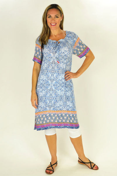 Blue Pattern Threadz Tunic