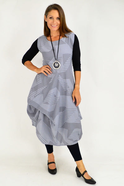 Grey Vanessa Panel Cotton Tunic Dress