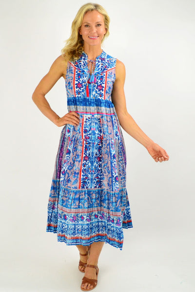 Blue Sleeveless Ibiza Print Tunic Dress