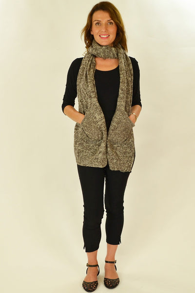 Brown White Pocket Scarf
