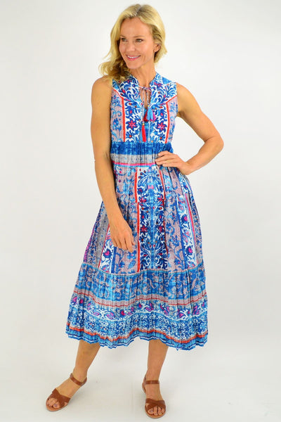 Blue Sleeveless Ibiza Print Tunic Dress | I Love Tunics | Tunic Tops | Tunic | Tunic Dresses  | womens clothing online