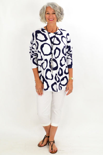 White Navy Leah Tunic Top