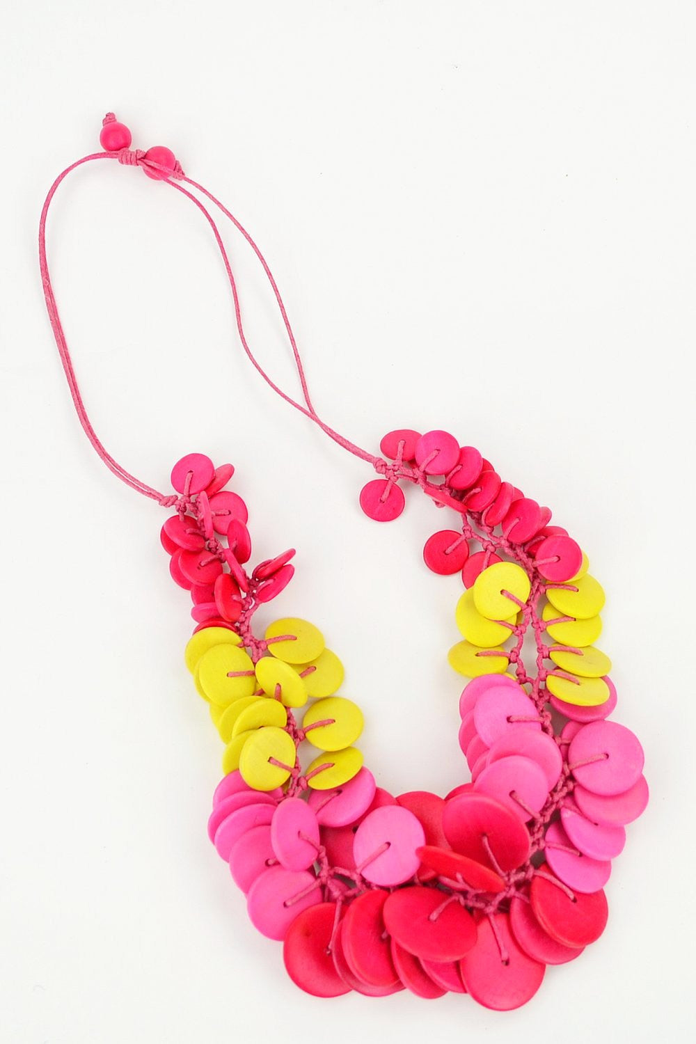 Pink Button Necklace - at I Love Tunics @ www.ilovetunics.com = Number One! Tunics Destination