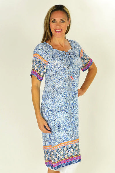 Blue Pattern Threadz Tunic | I Love Tunics | Tunic Tops | Tunic Dresses | Women's Tops | Plus Size Australia | Mature Fashion